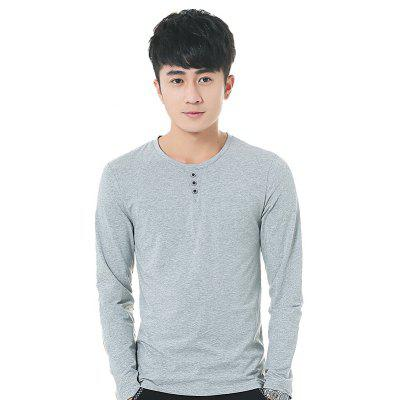 Mens Solid Color Decorative Buttons Round Neck Long Sleeve Slim T-Shirt