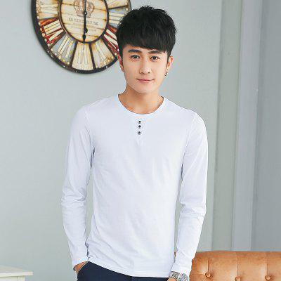 Mens Solid Color Decorative Buttons Round Neck Long Sleeve Slim T-ShirtMens T-shirts<br>Mens Solid Color Decorative Buttons Round Neck Long Sleeve Slim T-Shirt<br><br>Collar: Round Neck<br>Material: Cotton<br>Package Contents: 1 x T-Shirt<br>Pattern Type: Solid<br>Sleeve Length: Full<br>Style: Casual<br>Weight: 0.1800kg
