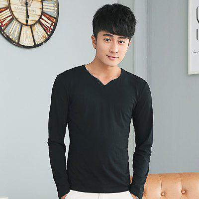 Mens Solid Color Decorative Buttons V Neck Long Sleeve Slim T-ShirtMens T-shirts<br>Mens Solid Color Decorative Buttons V Neck Long Sleeve Slim T-Shirt<br><br>Collar: V-Neck<br>Material: Cotton<br>Package Contents: 1 x T-Shirt<br>Pattern Type: Solid<br>Sleeve Length: Full<br>Style: Casual<br>Weight: 0.2000kg