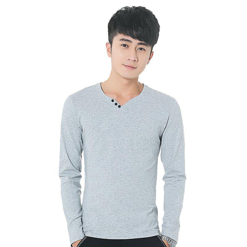 Mens Solid Color Decorative Buttons V Neck Long Sleeve Slim T-Shirt