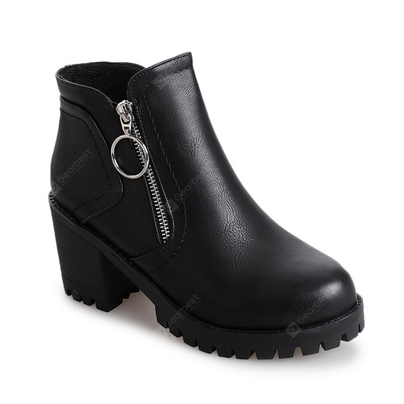 2017 Autumn New Concise Martin Boots Coarse With Bare Boots Women's Shoes