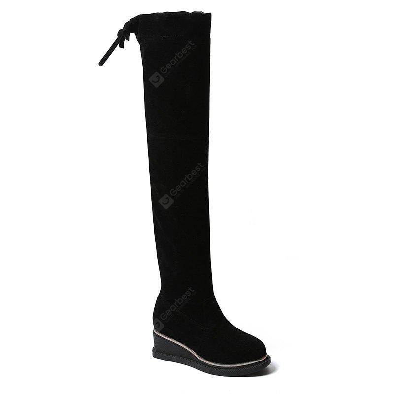 2017 New Autumn Fashion Boots Flat Base Elastic Thick Soled Long Boots