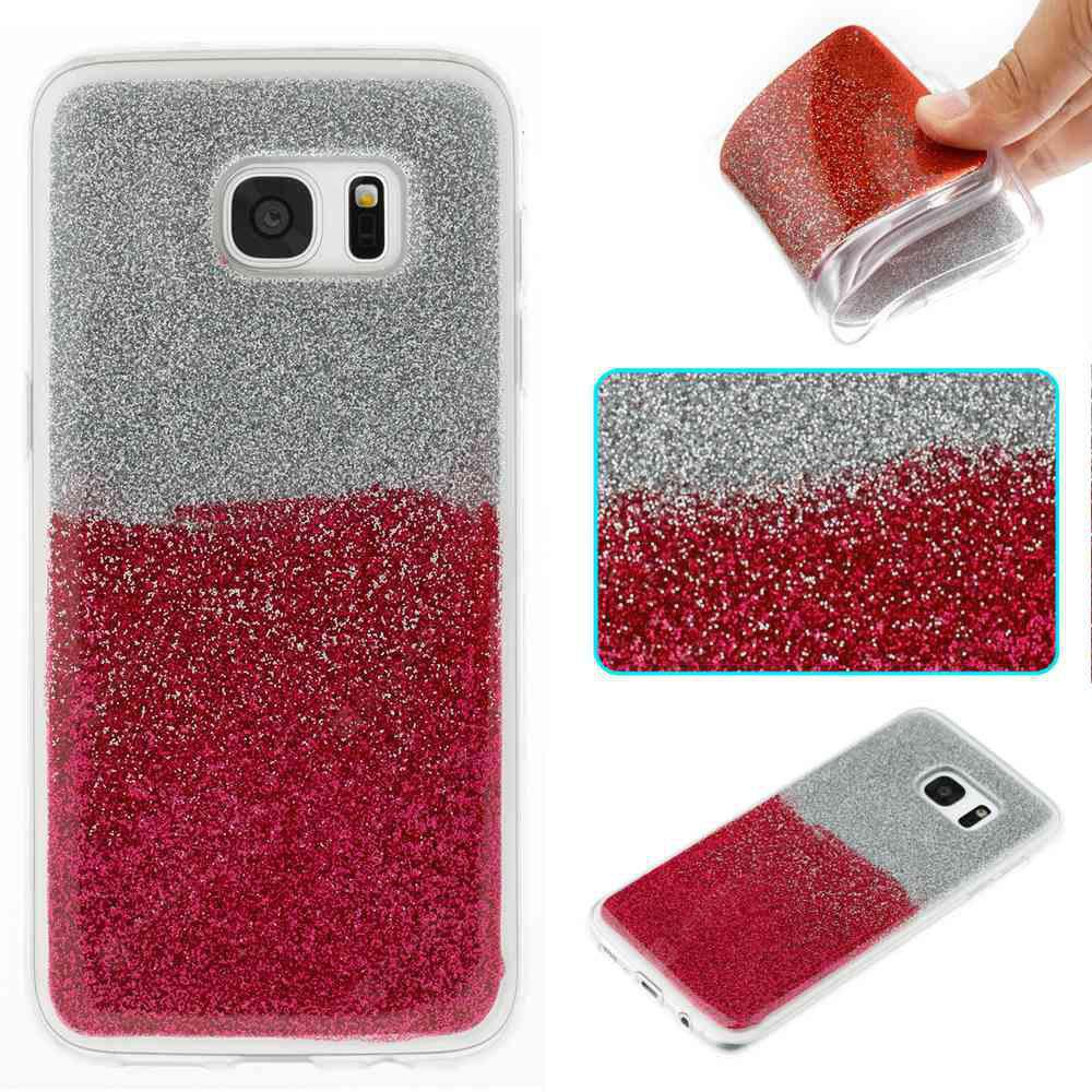 Flash Powder Painted Two-Color TPU Phone Case for Samsung Galaxy S7 Edge