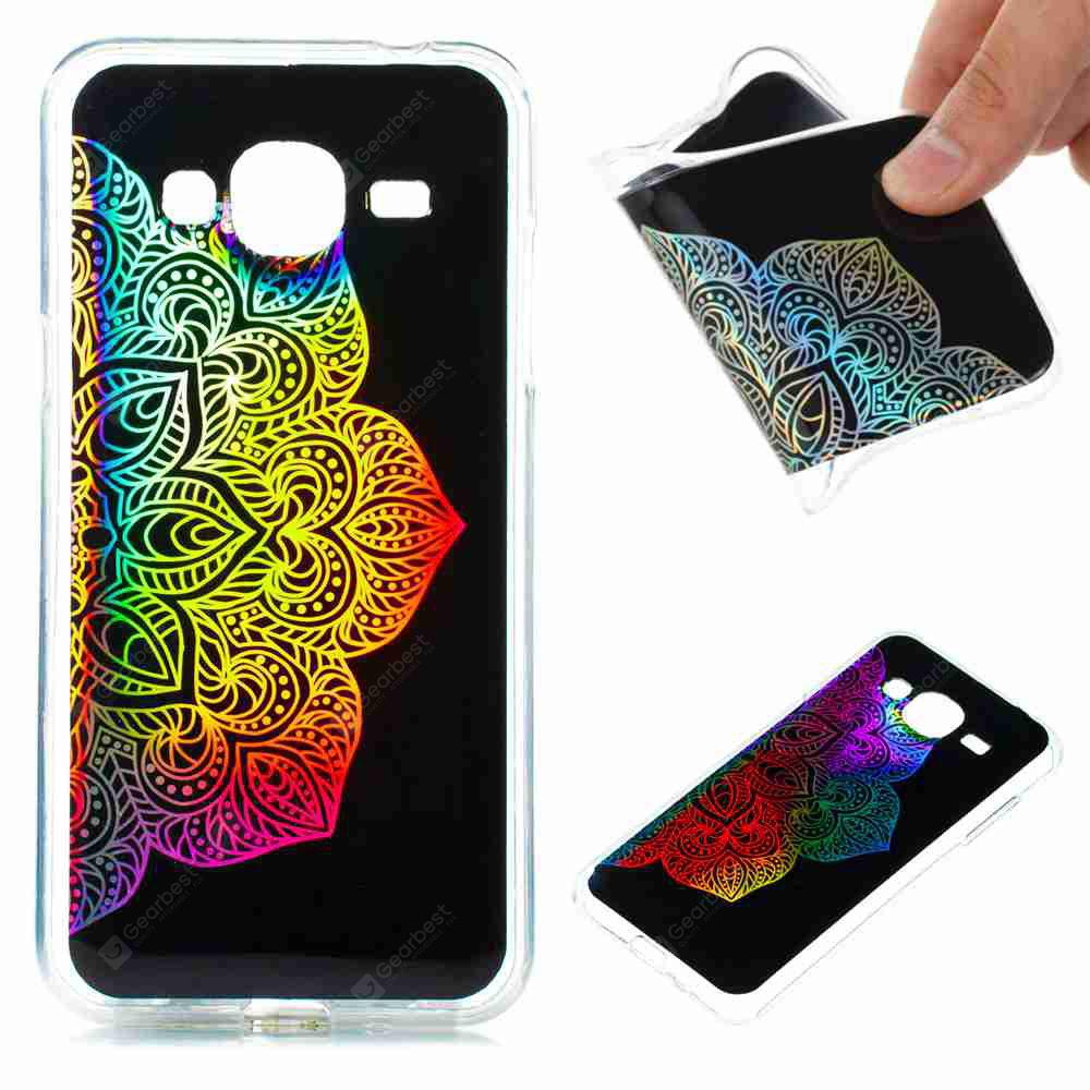 Flash Powder Painted  Colorful TPU Phone Case for Samsung Galaxy J3 2016 / 2015