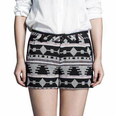 Ving Embroidery Geometric Pattern Women Pants Mid-waist Casual Boho Shorts