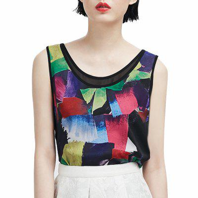 VING Sleeveless Printed Patchwork Chiffon Tank Tops