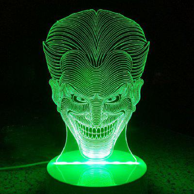 DUS 3D Lamp LED Table Night Light Joker ShapeNovelty lighting<br>DUS 3D Lamp LED Table Night Light Joker Shape<br><br>Brand: DSU<br>Feature: Rechargeable<br>Light Source Color: RGB<br>Package Content: 1xAcrylicBoard,1xABSPedestal,1xUSBCable,1xEnglishManual,1 x24KeysRemoteControl<br>Package Size ( L x W x H ): 25.00 x 15.00 x 9.00 cm / 9.84 x 5.91 x 3.54 inches<br>Package Weights: 0.3700KG<br>Product Size(L x W x H): 20.00 x 15.00 x 9.00 cm / 7.87 x 5.91 x 3.54 inches<br>Type: Halloween, Valentines, Christmas<br>Voltage (V): 5V
