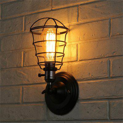 Brightness with Switch Vintage Industrial Black Metal Cage Loft Wall Sconce Living / Dining Room Hallway Cafe