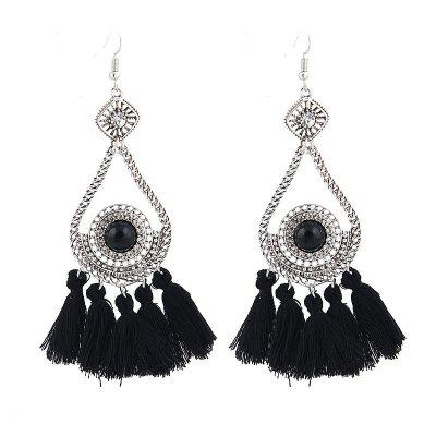 Vintage Diamond Tassel Long Earrings