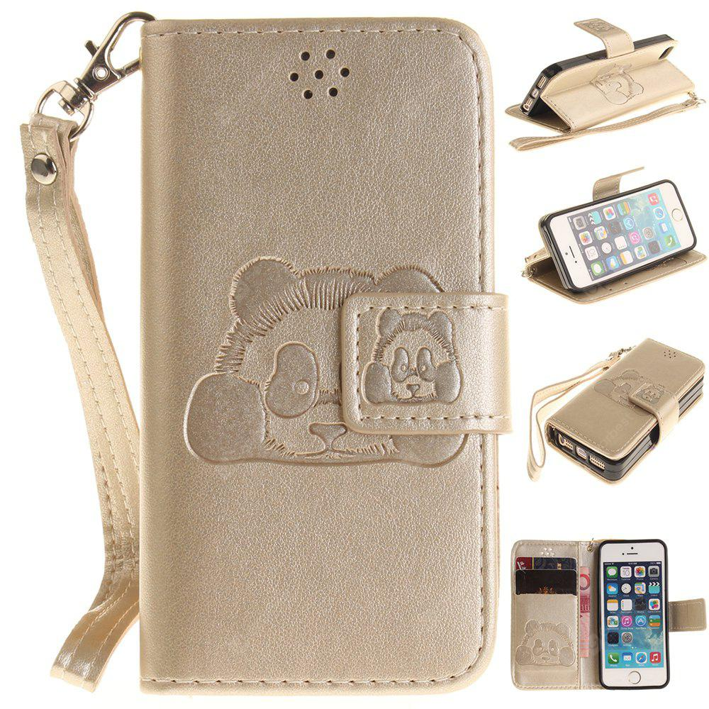 Panda Flip Fold PU Leather Wallet Case Design with Stand and Card Slots Magnetic Closure iPhone 5/5S/5 SE Case