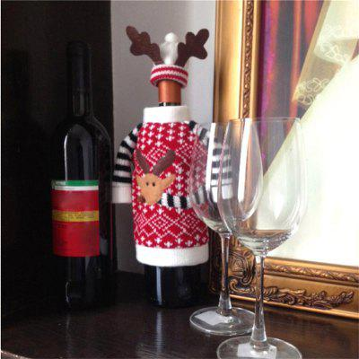 WS Christmas Deer Elk Style Red Wine Champagne Bottle Covers Bag For New Year Christmas Decorations Ornament