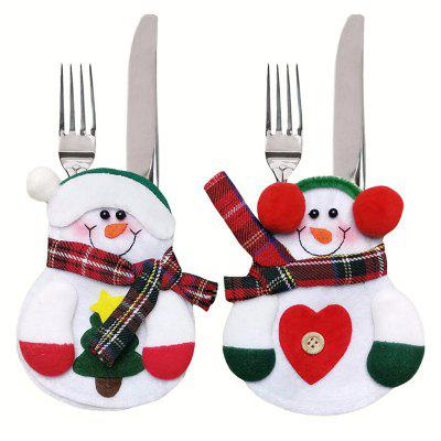 6PCS Xmas Decor Lovely Snowman Kitchen Tableware Holder Pocket Dinner Cutlery Bag Party Christmas Table Decoration Cutlery Sets