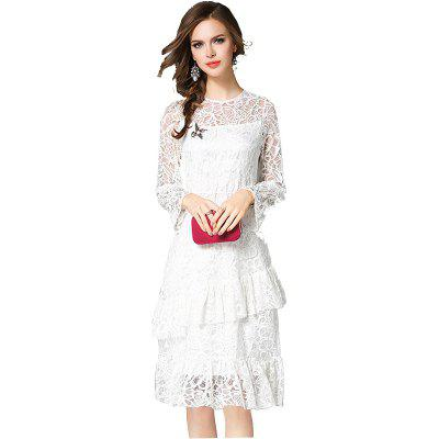 Autumn High-End Long-Sleeved Pure White Fashion Slim Lace Dress