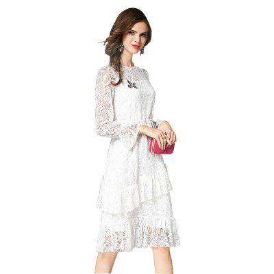 Autumn High-End Long-Sleeved Pure White Fashion Slim Lace DressWomens Dresses<br>Autumn High-End Long-Sleeved Pure White Fashion Slim Lace Dress<br><br>Dresses Length: Knee-Length<br>Elasticity: Micro-elastic<br>Embellishment: Hollow Out<br>Fabric Type: Lace<br>Material: Lace<br>Neckline: Round Collar<br>Package Contents: 1 X DRESS<br>Pattern Type: Solid<br>Season: Winter, Fall, Spring<br>Silhouette: Ball Gown<br>Sleeve Length: Long Sleeves<br>Sleeve Type: Flare Sleeve<br>Style: Elegant<br>Waist: Natural<br>Weight: 0.5600kg<br>With Belt: No