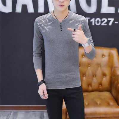 Mens Fashion Printing Personalized Button Decoration Slim Long Sleeve T-shirtMens T-shirts<br>Mens Fashion Printing Personalized Button Decoration Slim Long Sleeve T-shirt<br><br>Collar: V-Neck<br>Material: Cotton<br>Package Contents: 1 x T-shirt<br>Pattern Type: Print<br>Sleeve Length: Full<br>Style: Casual<br>Weight: 0.2000kg