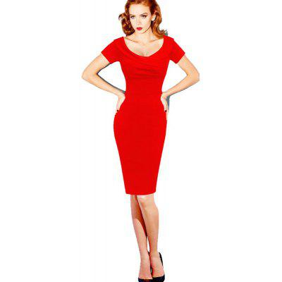Buy RED 2XL Sexy Dress V Collar Short Sleeve Waist Bandage Dress for $24.84 in GearBest store