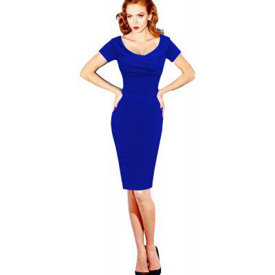 Buy BLUE 2XL Sexy Dress V Collar Short Sleeve Waist Bandage Dress for $24.84 in GearBest store
