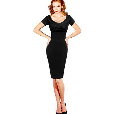Buy BLACK 2XL Sexy Dress V Collar Short Sleeve Waist Bandage Dress for $24.84 in GearBest store