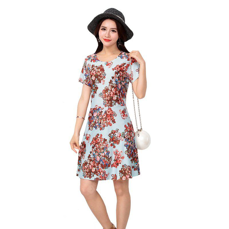 Women's Fashion Ice Silk Print Short Sleeves Slim Dress