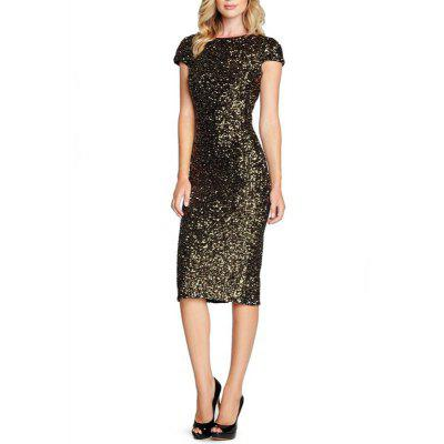 Women's Sheath Dress O Neck Short Sleeve Backless Sequins Sexy Midi Dress