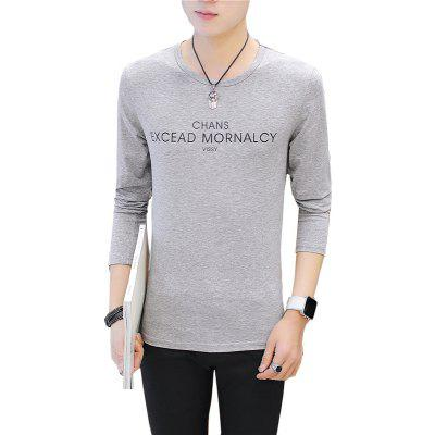 Buy GRAY M Men'S Fashion T-shirt Letter Printing Slim Long-Sleeved T-Shirt for $18.69 in GearBest store