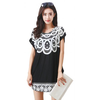 Women's Fashion Large Size Silk Floral Ring Printing Short Sleeved T-shirt