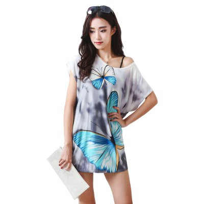 Women's Fashion Large Size Silk Colour Butterfly Printing Short Sleeved T-shirt