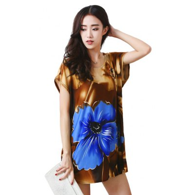 Women's Fashion Large Size Silk Large Petals in Color Printing Short Sleeved  T-shirt