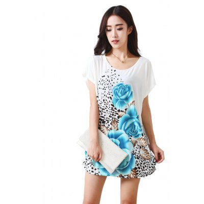Buy BLUE Women's Fashion Large Size Silk Three Colored Petals Printing Short Sleeved T-shirt for $12.74 in GearBest store