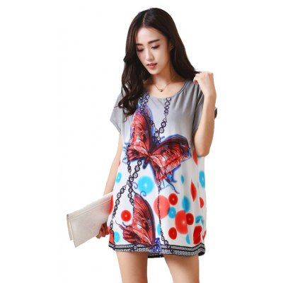 Women's Fashion Colour Butterfly Large Size Silk Printing Short Sleeved T-shirt