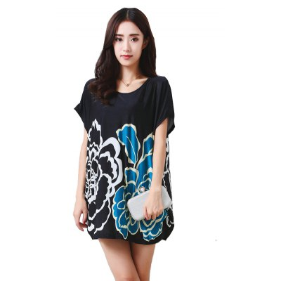 Women's Fashion Large Size Silk Colored Symmetrical Petals Printing Short Sleeved T-shirt