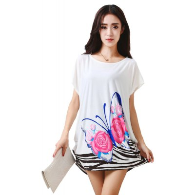 Women's Fashion Large Size Silk Stripe-Printed Colour Butterfly Short Sleeved T-shirt