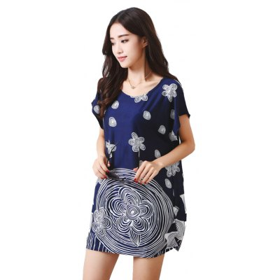 Buy DEEP BLUE Women's Fashion Large Size Silk Fashion Circle Flower Printing Short Sleeved T-shirt for $12.74 in GearBest store