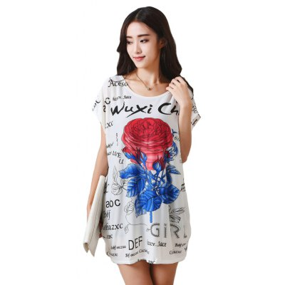 Buy WHITE Women's Fashion Large Size Silk Rose Printing Short Sleeved T-shirt for $12.74 in GearBest store