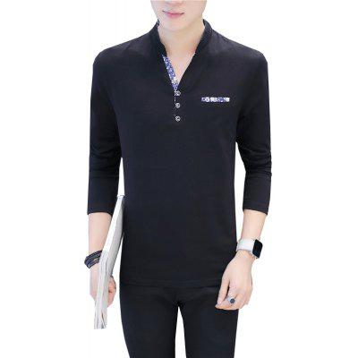 Buy BLACK 2XL Men's Fashion T-Shirt Personality V-Neck Long Sleeve Slim T-Shirt for $20.17 in GearBest store