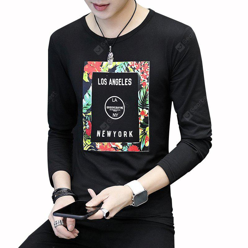 Мужская футболка Fashion Printing Slim Long-Sleeved T-Shirt