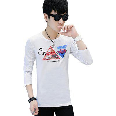 Buy WHITE 2XL Men's T-Shirt Printing Round Neck Slim Long-Sleeved Fashion T-Shirt for $16.11 in GearBest store