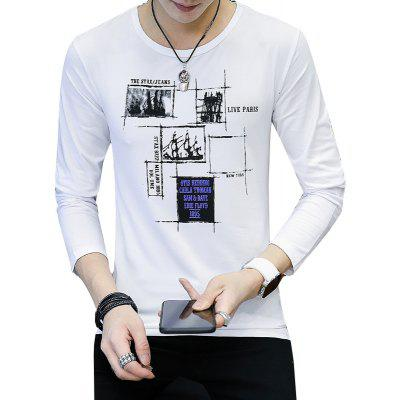 Buy WHITE 2XL Men's T-Shirt Round Neck Printing Slim Long-Sleeved Fashion T-Shirt for $16.11 in GearBest store