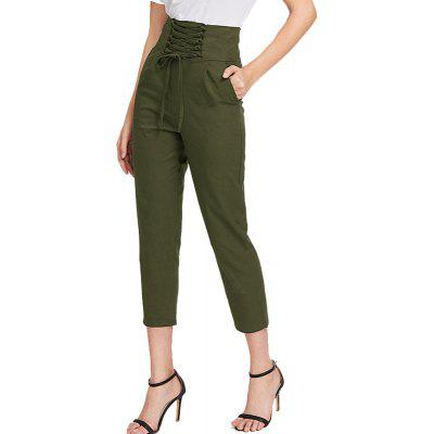 Buy ARMY GREEN M Women'S Fashion High Waist Belt with Pants for $24.88 in GearBest store