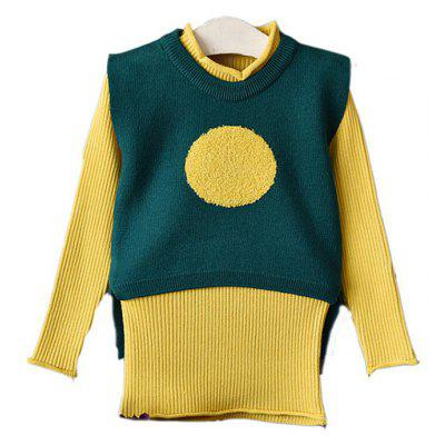 Girl Suits 2pcs Vest Long Knitted Dress