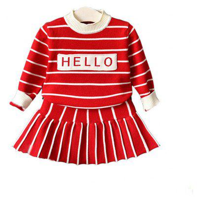 Autumn Winter New 2-8 Year Old Children Knit Sweater Skirt Two Pieces