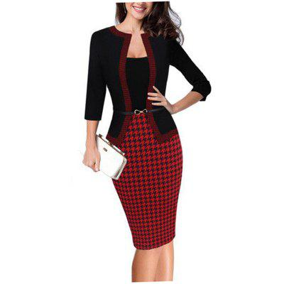Buy RED M Hot Sale Ebay Women Spring Autumn 3/4 Sleeve Patchwork Slim Temperament Business Fake Two Piece Dresses for $26.10 in GearBest store