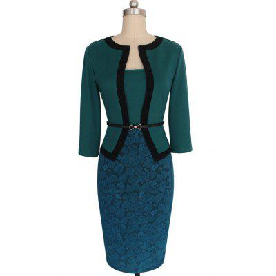 Buy GREEN S Hot Sale Ebay Women Spring Autumn 3/4 Sleeve Patchwork Slim Temperament Business Fake Two Piece Dresses for $26.10 in GearBest store