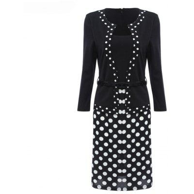 Buy BLACK XL Hot Sale Ebay Women Spring Autumn 3/4 Sleeve Patchwork Slim Temperament Business Fake Two Piece Dresses for $26.10 in GearBest store