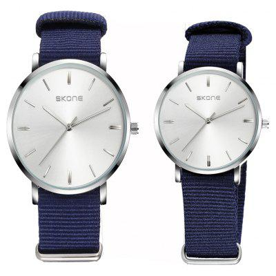 SKONE 6166G 1079 Simple Canvas Band Couple Quartz Watch
