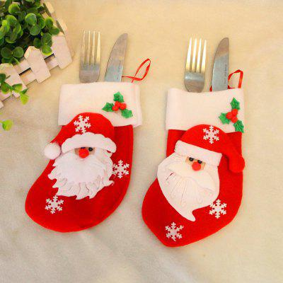 2pcs Santa Claus Gift Socks Knife and Fork Bag Christmas Tree Ornaments