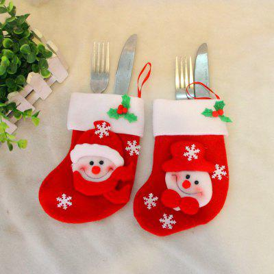 2pcs Snowman Gift Socks Knife and Fork Bag Christmas Tree Ornaments