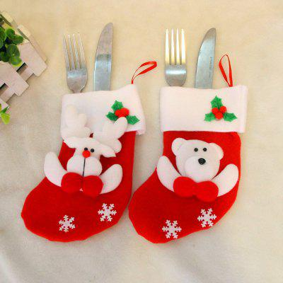 2pcs Bear and Deer Gift Socks Knife and Fork bag Christmas Tree Ornaments