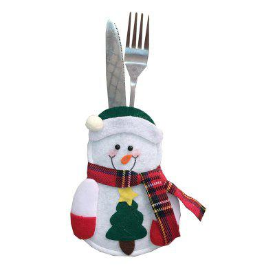 4pcs Santa Claus Snowman Elk Knife and Fork Storage Bag Christmas Decoration neje st0006 4 christmas stretch santa claus gift snowman doll red white
