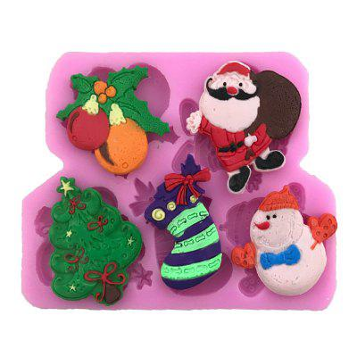 AY - X196 Christmas Tree Snowman Christmas Socks Silicone Cake Decoration Mold
